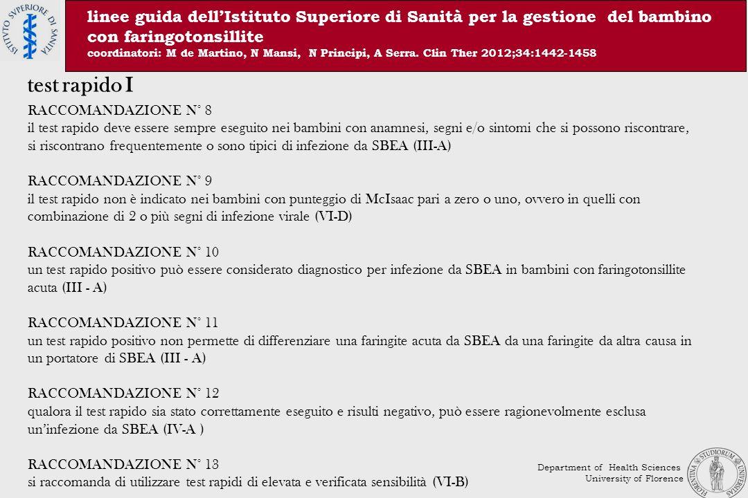 linee guida dell'Istituto Superiore di Sanità per la gestione del bambino con faringotonsillite coordinatori: M de Martino, N Mansi, N Principi, A Serra. Clin Ther 2012;34:1442-1458