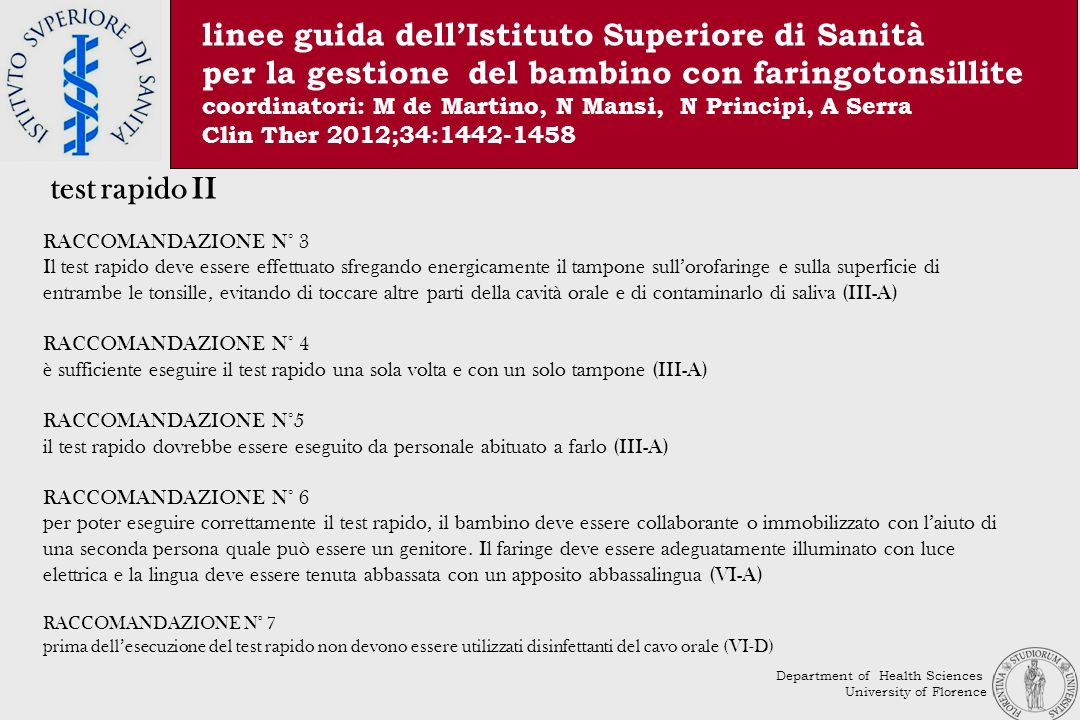 linee guida dell'Istituto Superiore di Sanità