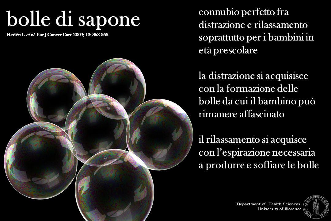 bolle di sapone Hedén L et al. Eur J Cancer Care 2009; 18: 358-363.