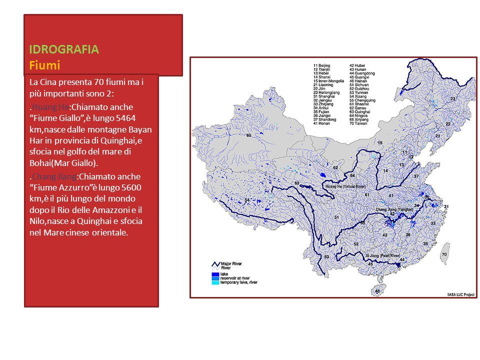 IDROGRAFIA Fiumi La Cina presenta 70 fiumi ma i più importanti sono 2: