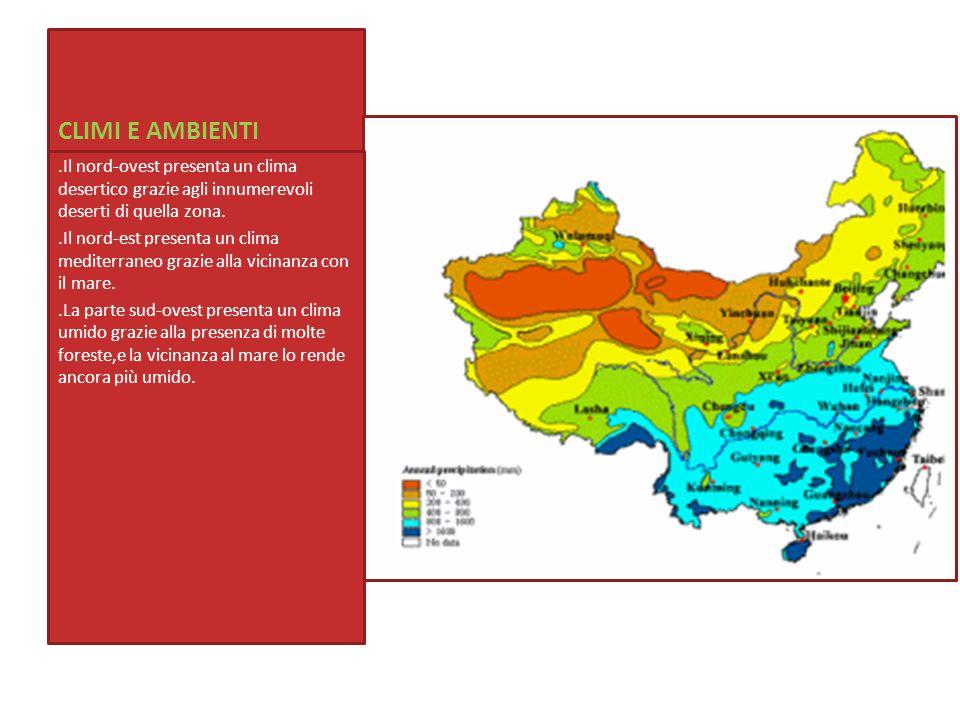 CLIMI E AMBIENTI.Il nord-ovest presenta un clima desertico grazie agli innumerevoli deserti di quella zona.