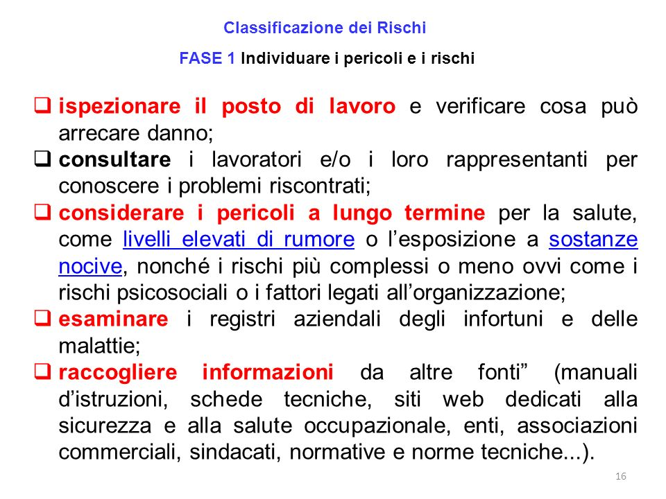 Classificazione dei Rischi FASE 1 Individuare i pericoli e i rischi