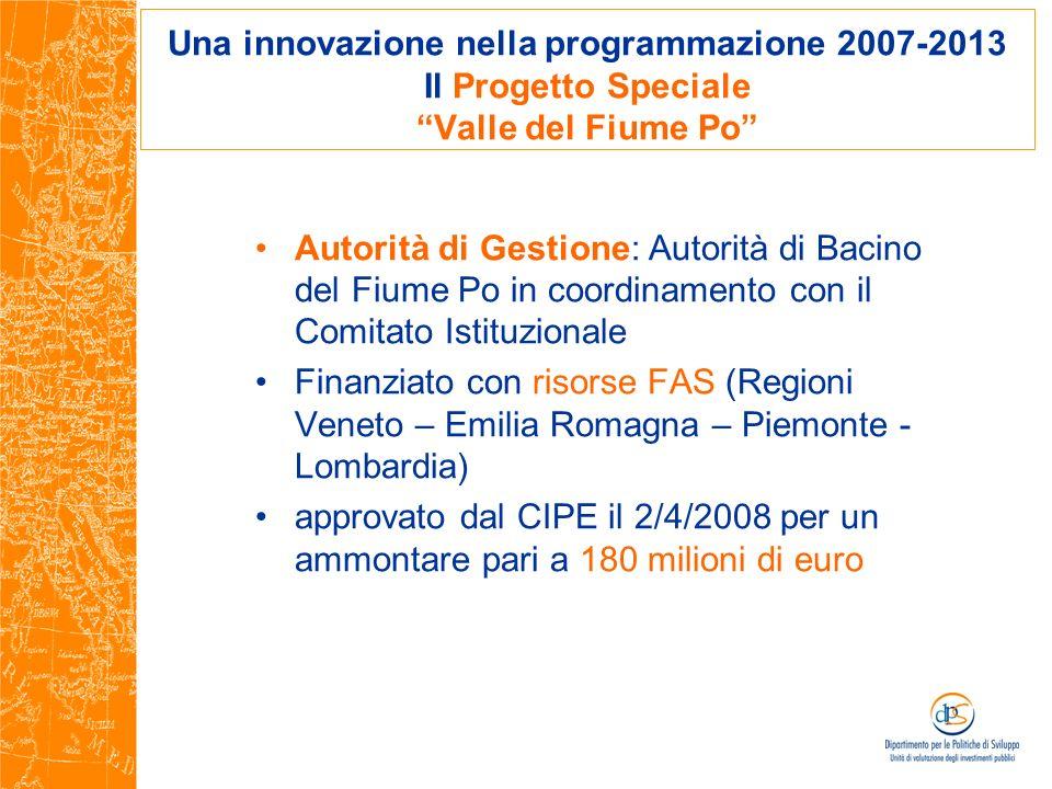 Una innovazione nella programmazione 2007-2013 Il Progetto Speciale Valle del Fiume Po