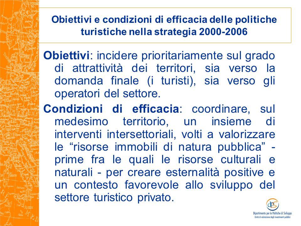 Obiettivi e condizioni di efficacia delle politiche turistiche nella strategia 2000-2006