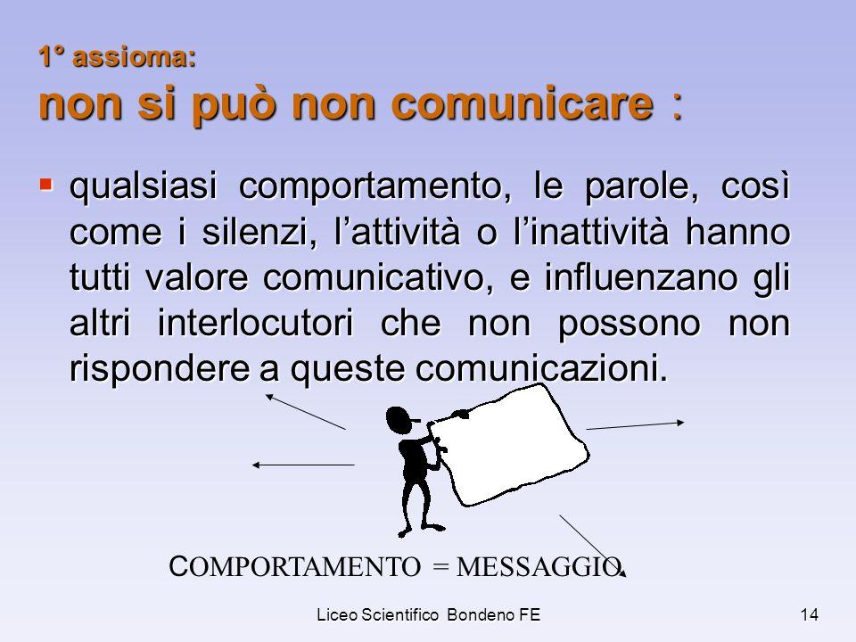 1° assioma: non si può non comunicare :