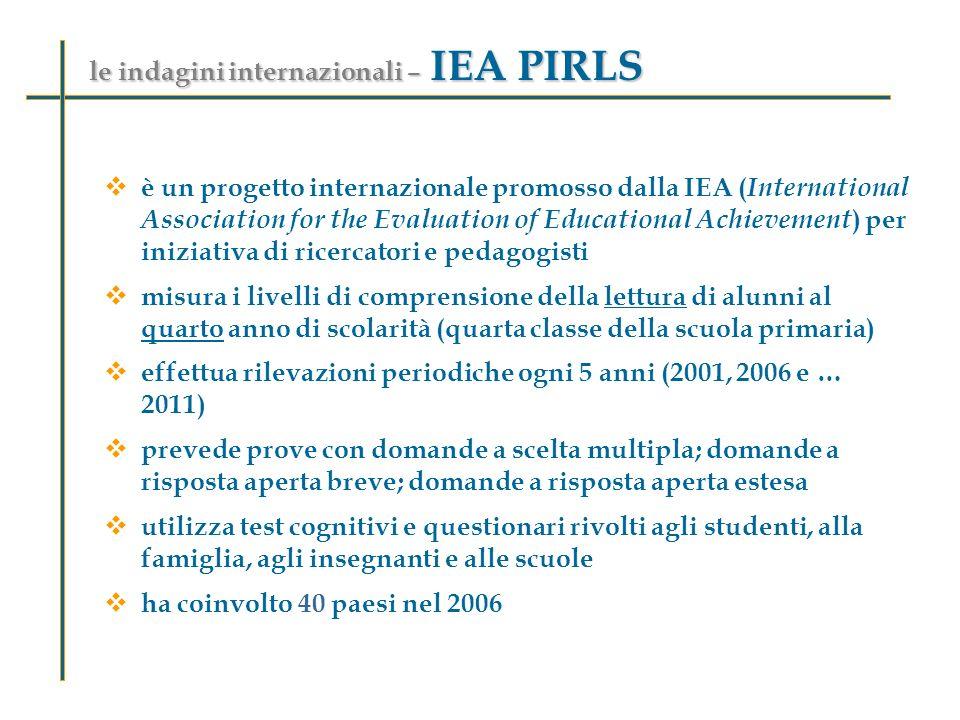 le indagini internazionali – IEA PIRLS