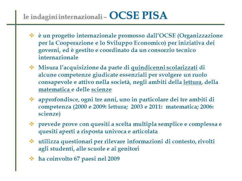 le indagini internazionali – OCSE PISA