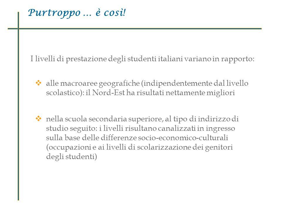Purtroppo … è così! I livelli di prestazione degli studenti italiani variano in rapporto: