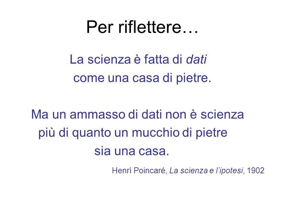Per riflettere… La scienza è fatta di dati come una casa di pietre.