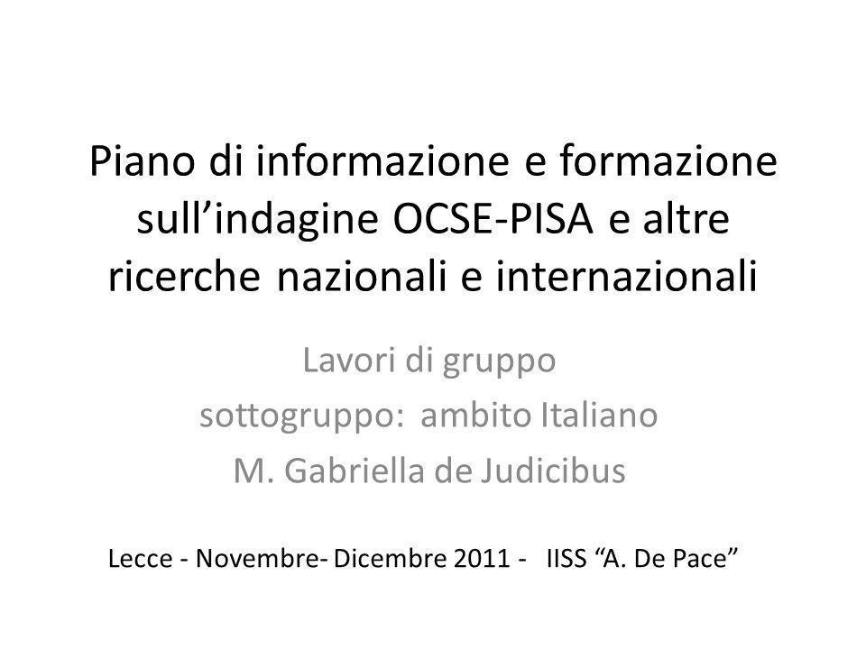 Piano di informazione e formazione sull'indagine OCSE-PISA e altre ricerche nazionali e internazionali