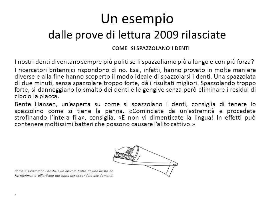 Un esempio dalle prove di lettura 2009 rilasciate