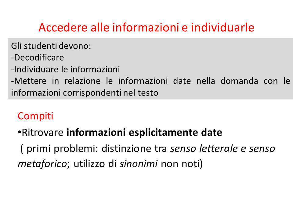 Accedere alle informazioni e individuarle