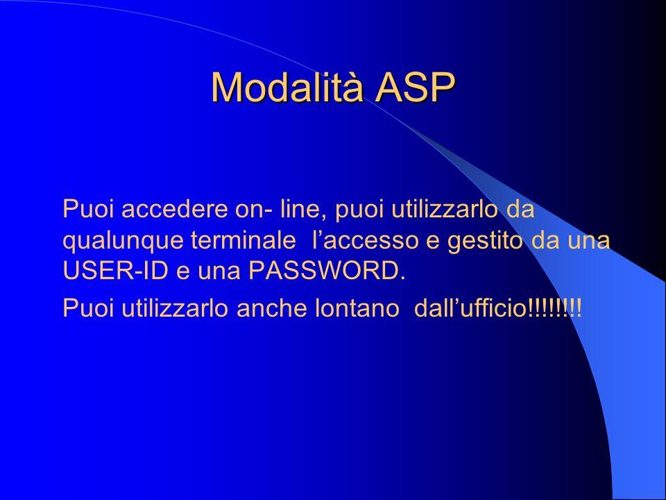 Modalità ASP Puoi accedere on- line, puoi utilizzarlo da qualunque terminale l'accesso e gestito da una USER-ID e una PASSWORD.