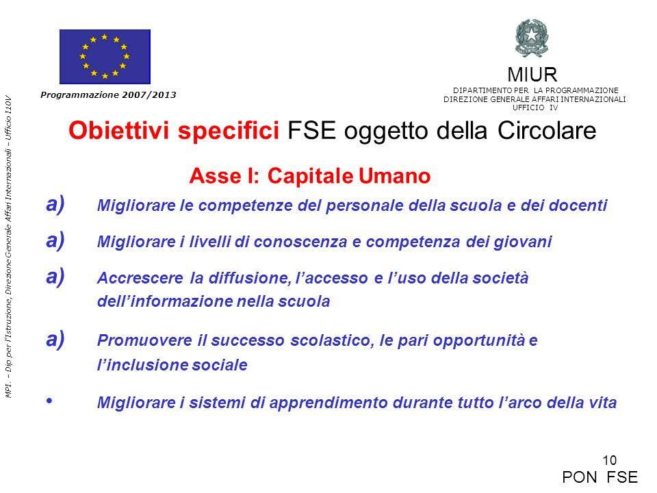 Obiettivi specifici FSE oggetto della Circolare