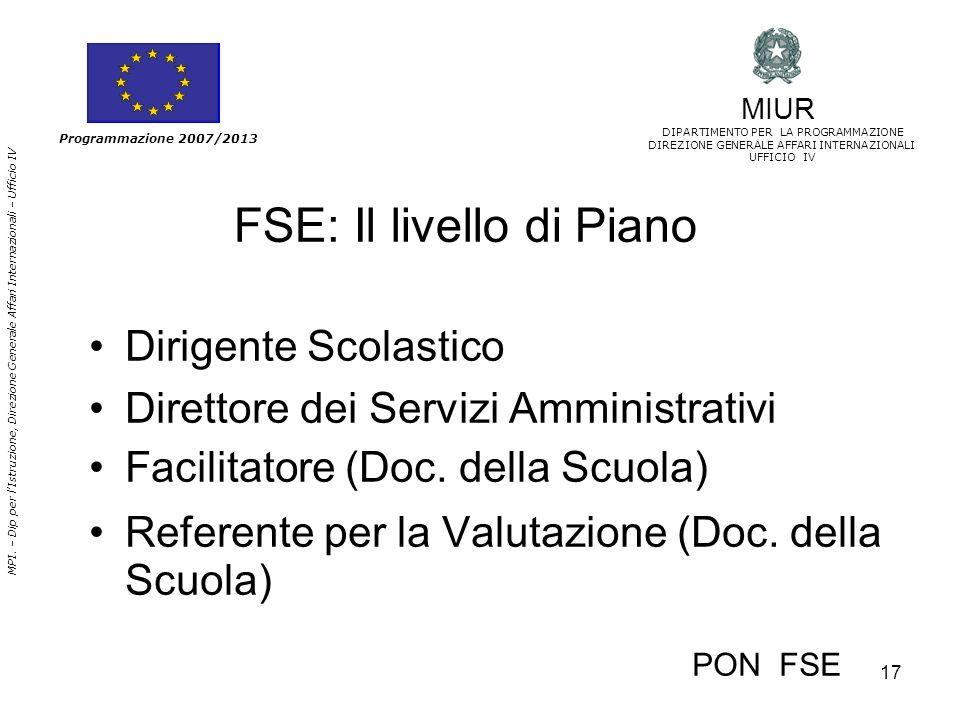 FSE: Il livello di Piano