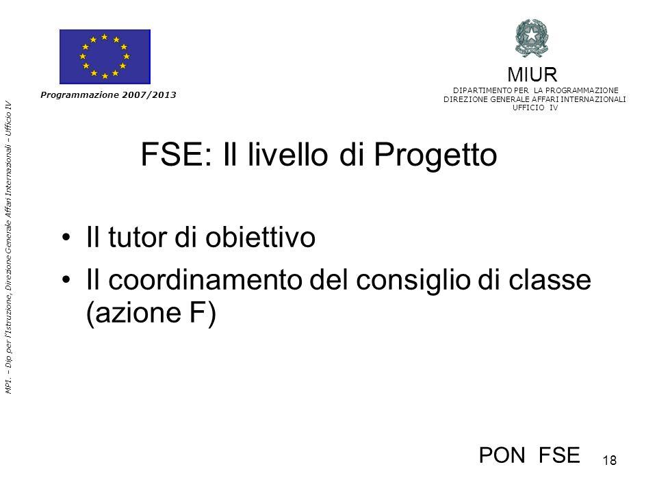 FSE: Il livello di Progetto