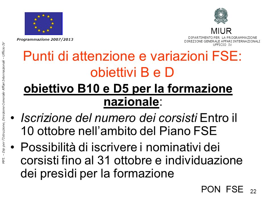 Punti di attenzione e variazioni FSE: obiettivi B e D