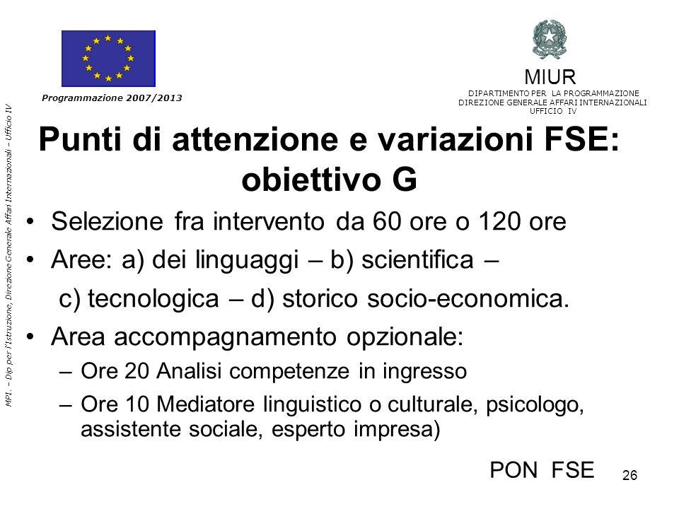 Punti di attenzione e variazioni FSE: obiettivo G