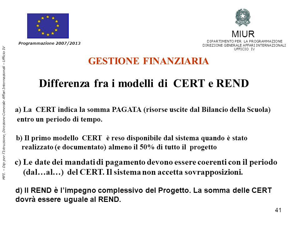 Differenza fra i modelli di CERT e REND