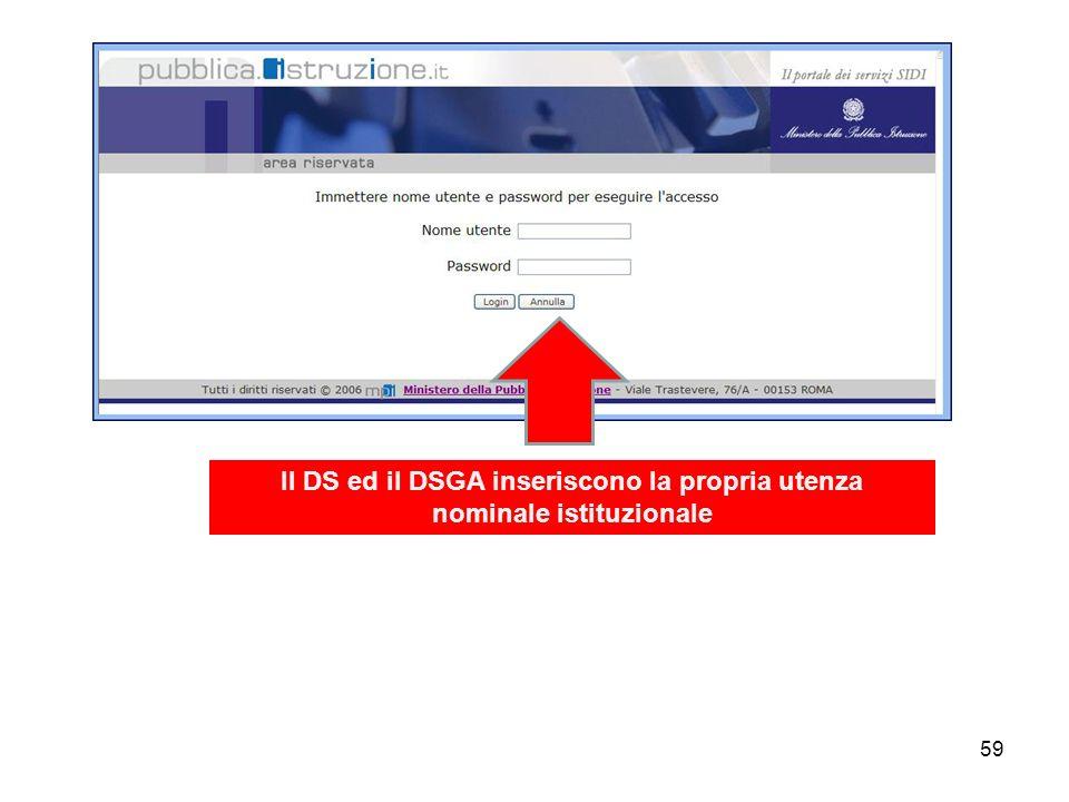 Il DS ed il DSGA inseriscono la propria utenza nominale istituzionale