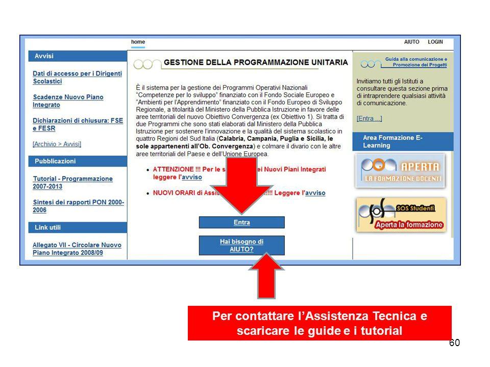 Per contattare l'Assistenza Tecnica e scaricare le guide e i tutorial