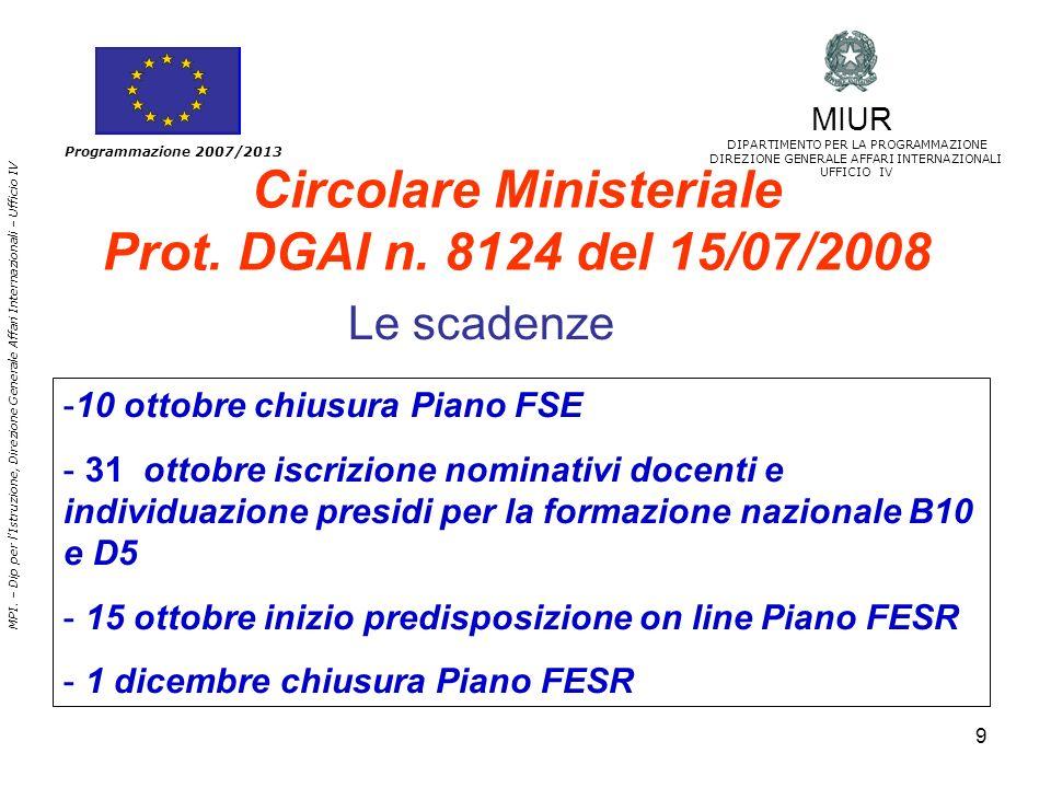 Circolare Ministeriale Prot. DGAI n. 8124 del 15/07/2008