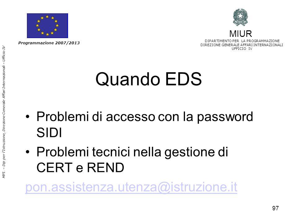 Quando EDS Problemi di accesso con la password SIDI