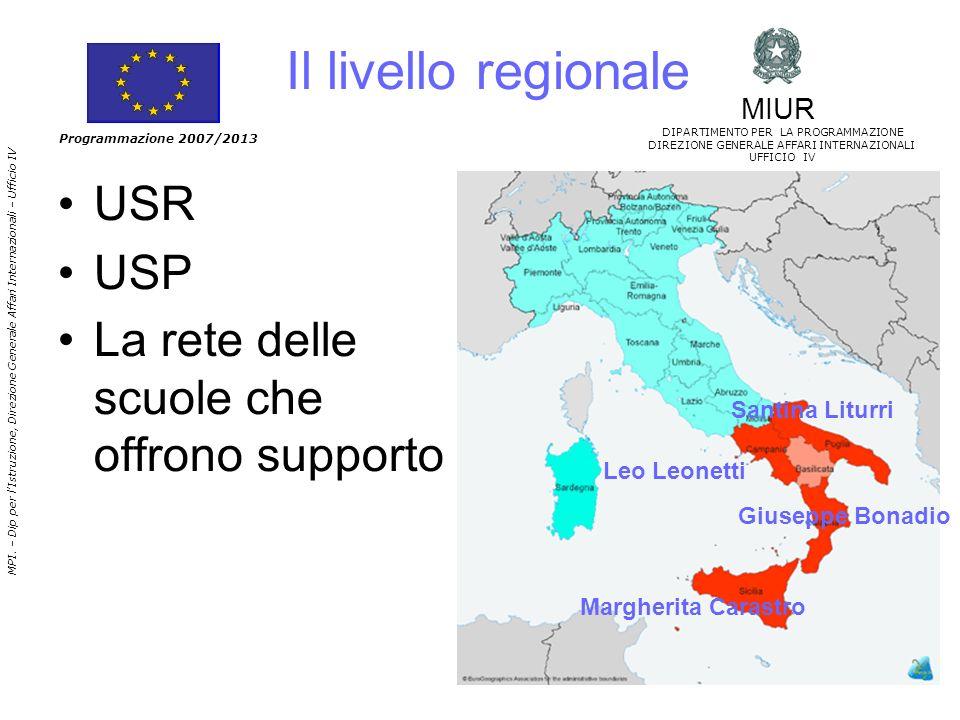 Il livello regionale USR USP La rete delle scuole che offrono supporto