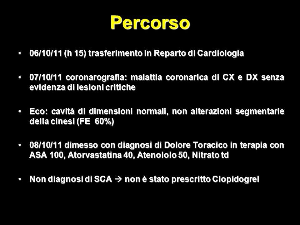 Percorso 06/10/11 (h 15) trasferimento in Reparto di Cardiologia