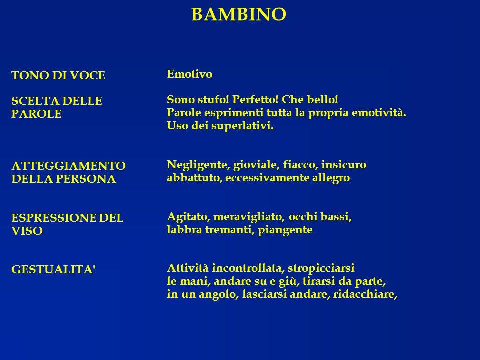 BAMBINO Emotivo TONO DI VOCE SCELTA DELLE