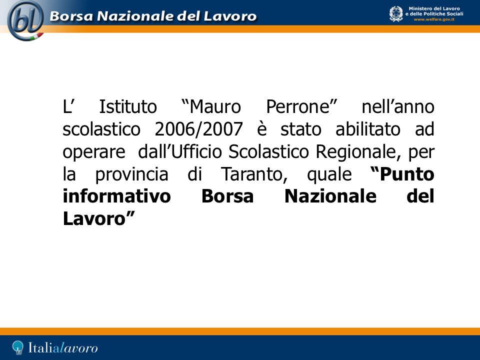L' Istituto Mauro Perrone nell'anno scolastico 2006/2007 è stato abilitato ad operare dall'Ufficio Scolastico Regionale, per la provincia di Taranto, quale Punto informativo Borsa Nazionale del Lavoro