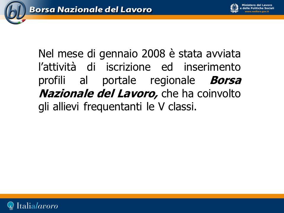 Nel mese di gennaio 2008 è stata avviata l'attività di iscrizione ed inserimento profili al portale regionale Borsa Nazionale del Lavoro, che ha coinvolto gli allievi frequentanti le V classi.