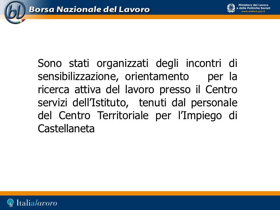 Sono stati organizzati degli incontri di sensibilizzazione, orientamento per la ricerca attiva del lavoro presso il Centro servizi dell'Istituto, tenuti dal personale del Centro Territoriale per l'Impiego di Castellaneta
