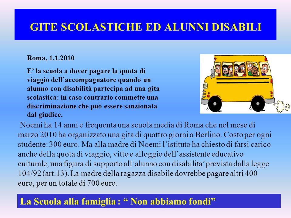 GITE SCOLASTICHE ED ALUNNI DISABILI