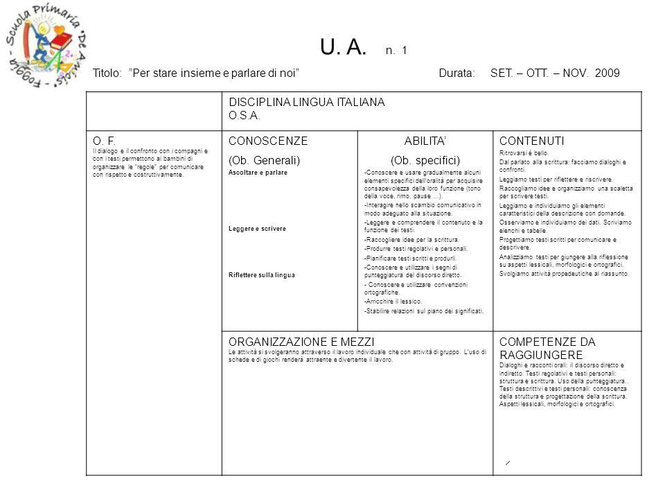 U. A. n. 1 Titolo: Per stare insieme e parlare di noi Durata: SET. – OTT. – NOV. 2009.
