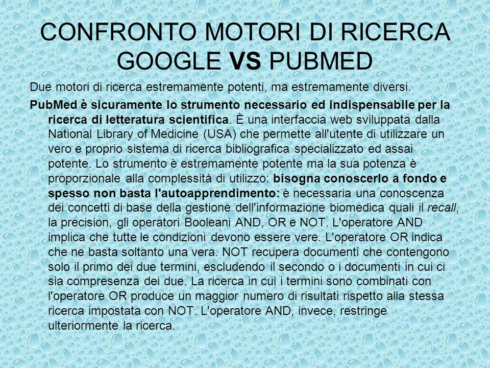 CONFRONTO MOTORI DI RICERCA GOOGLE VS PUBMED