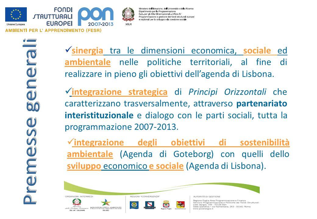 sinergia tra le dimensioni economica, sociale ed ambientale nelle politiche territoriali, al fine di realizzare in pieno gli obiettivi dell'agenda di Lisbona.