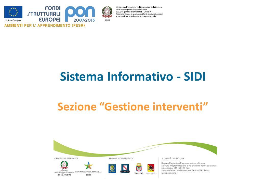 Sistema Informativo - SIDI Sezione Gestione interventi