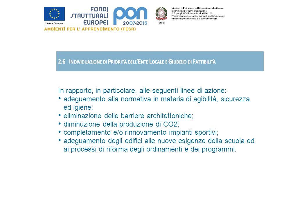 In rapporto, in particolare, alle seguenti linee di azione: