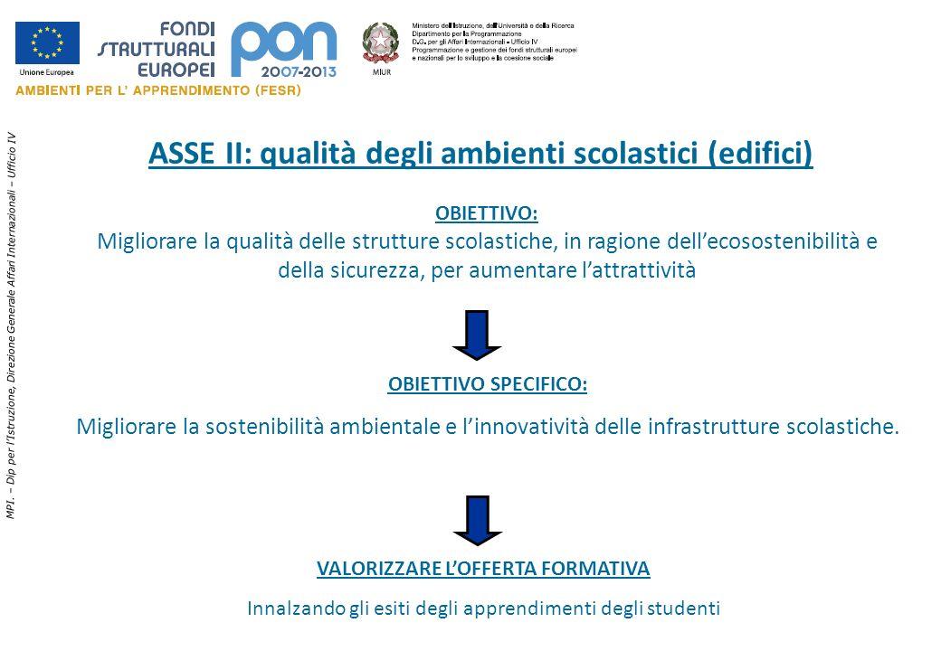 ASSE II: qualità degli ambienti scolastici (edifici)