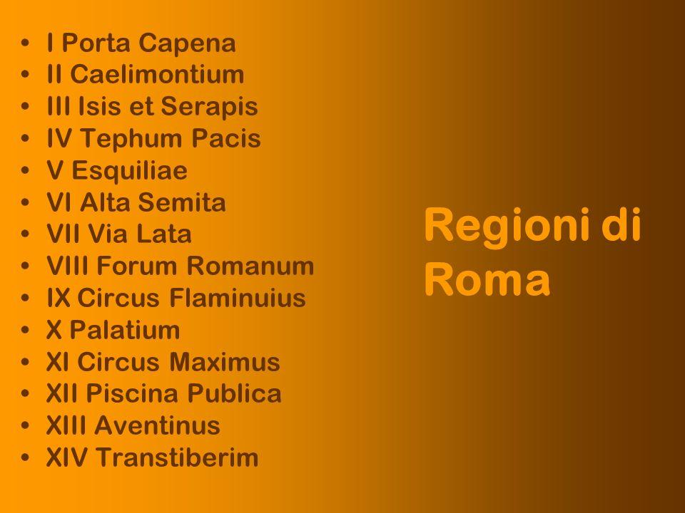 Regioni di Roma I Porta Capena II Caelimontium III Isis et Serapis