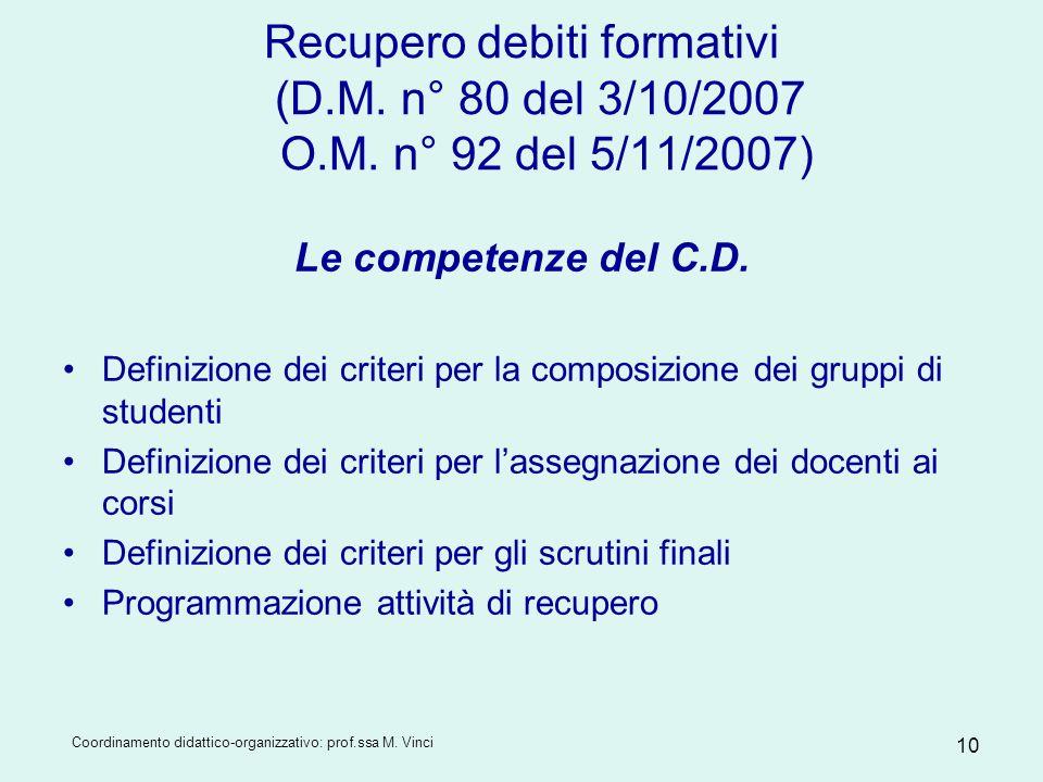 Recupero debiti formativi (D. M. n° 80 del 3/10/2007 O. M