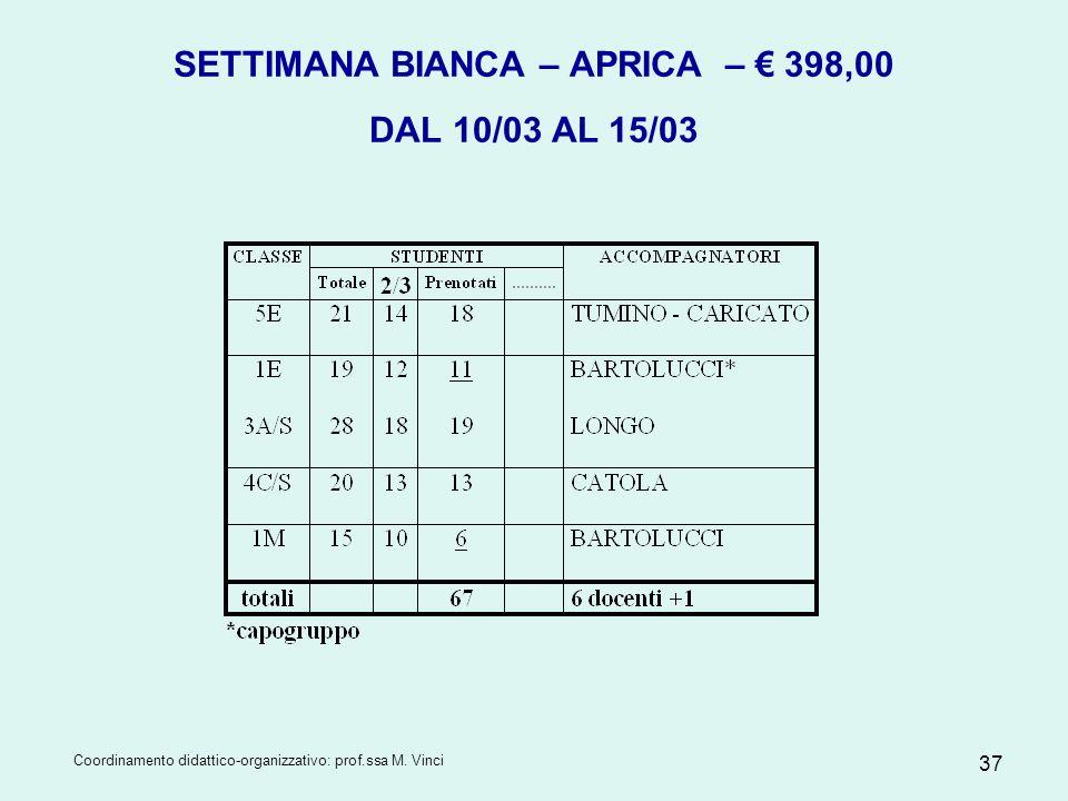 SETTIMANA BIANCA – APRICA – € 398,00 DAL 10/03 AL 15/03