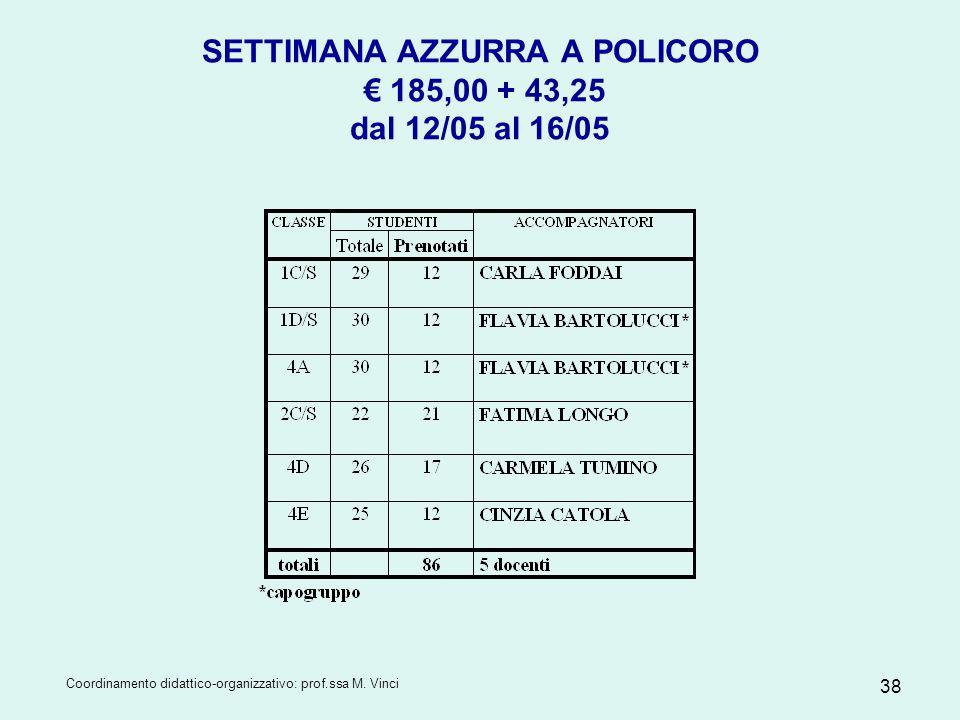 SETTIMANA AZZURRA A POLICORO € 185,00 + 43,25 dal 12/05 al 16/05