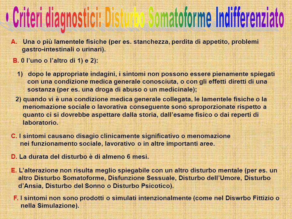 • Criteri diagnostici: Disturbo Somatoforme Indifferenziato
