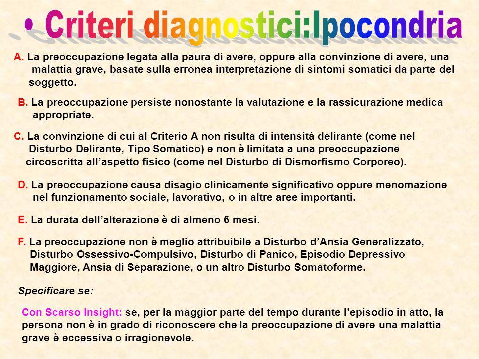 • Criteri diagnostici:Ipocondria