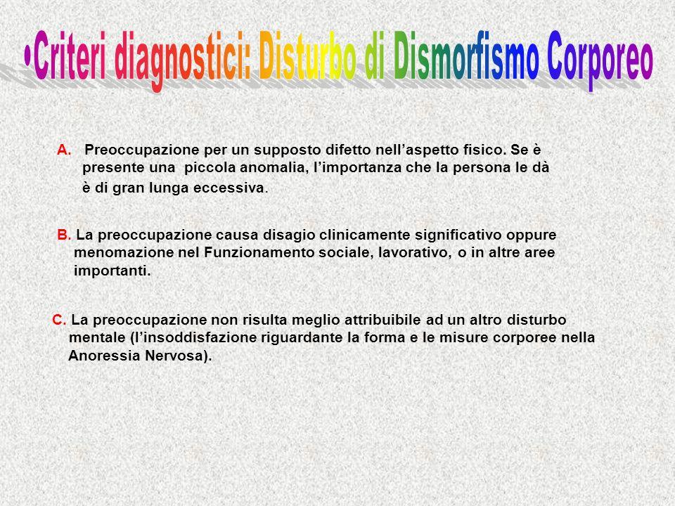 •Criteri diagnostici: Disturbo di Dismorfismo Corporeo