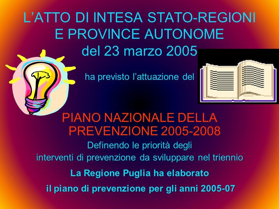 L'ATTO DI INTESA STATO-REGIONI E PROVINCE AUTONOME del 23 marzo 2005