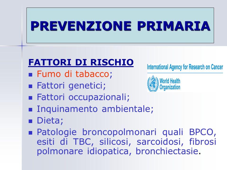 PREVENZIONE PRIMARIA FATTORI DI RISCHIO Fumo di tabacco;