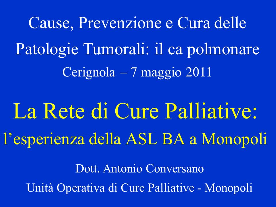 La Rete di Cure Palliative: